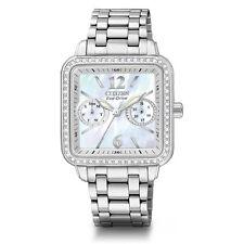New Citizen Women's Eco-Drive Silhouette MOP Swarovski Crystal Watch FD1040-52D