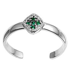 Silver Tiny Cross Toe Ring Sterling Silver 925 Best Deal Jewelry Gift Emerald CZ