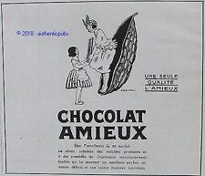 PUBLICITE AMIEUX CHOCOLAT ANTILLAISE DESSIN D'APRES STALL DE 1924 FRENCH AD PUB