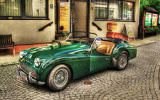 "OLD GREEN TRIUMPH TR3 A3 CANVAS PRINT POSTER FRAMED 16.5""x11.1"""