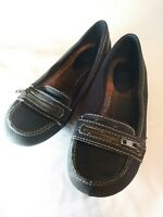 Route 66 sz 8.5 black womans shoes loafers leather look black