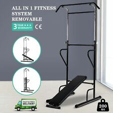 Adjustable Fitness Power Tower Dip Station AB Sit/Pull/Press/Chin Up Bench Bar