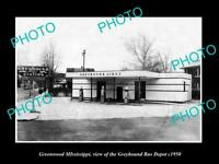 OLD LARGE HISTORIC PHOTO OF GREENWOOD MISSISSIPPI, THE GREYHOUND BUS DEPOT c1950