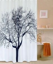 2M Abstract Landscape Black Tree White Bathroom Fabric Shower Curtain  fs216