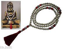 Collana Mala 108+1 in fossile naturale con Buddha e cristalli panna/rosso -Nepal