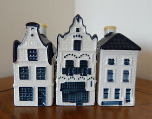 KLM Blue Delft Style Miniature Houses : Nr's 16-20-26 (See Pictures)