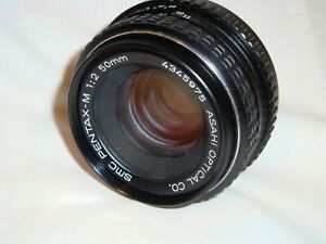 SMC PENTAX-M 50mm 1:2 Fast Prime Lens Asahi Optical Tested Clean, With Lens Caps