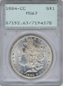 1884-CC PCGS MS-63 Morgan Silver $ ~ OLD RATTLER HOLDER ~ BLAST WHITE ~ 1c START