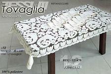 Tovaglia da tavola rettangolare ricamata 140x240, con 12 tovaglioli abbinati