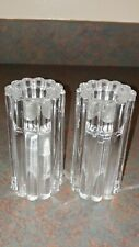 Vintage Fluted Heavy Clear Crystal Candle Holders