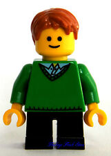 NEW Lego BOY Minifig w/GREEN V-NECK SWEATER Black Short Legs Light Brown Hair