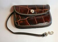 Dooney and Bourke Croc Embossed Leather Accessory Bag with Clip