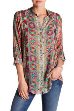 $210 NWT Johnny Was Rayon Button-Down Shirt Rosetto Blouse Tunic Top Sz M 10