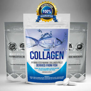 Hydrolyzed Fish COLLAGEN MARINE Tablets Skin Anti Ageing Tissue Joints 60 Pills