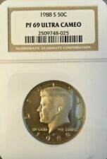 1988-S KENNEDY HALF DOLLAR GRADED PF 69 ULTRA CAMEO BY NGC