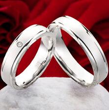 Trauringe Eheringe Verlobungsringe Ringe 925 Silber mit echtem Diamant SBN36