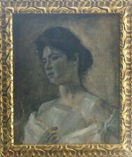 Georges FERRÉ (1853-1924) HsT 1906 Art Nouveau Portrait d'une jeune femme