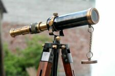 Nautical Design Antique Brass Spyglass Telescope With Wooden Tripod Marine Scope