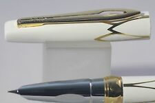 New Luxury Hero No. 3019 Fine Fountain Pen, White Lacquer with Gold Inlayed Trim