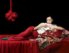 Stunning Oil painting beautiful young Chinese girl reading letter on bed canvas