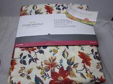 New Threshold Floral Twin Flannel Sheet Set ~ Fall Flower Rust Cream Teal NIP