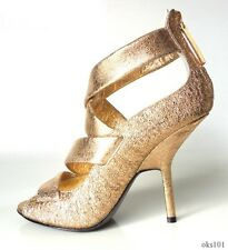 new $695 Giuseppe ZANOTTI gold leather strappy platforms shoes 37.5 US 7.5 - HOT