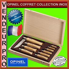 VRAI COFFRET IDEE CADEAU BOIS DE 10 COUTEAUX OPINEL INOX N°2,3,4,5,6,7,8,9,10,12