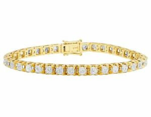 "Men's Real 10K Yellow Gold Genuine Diamond 6MM Cluster Tennis Bracelet 2 CT 8.5"""