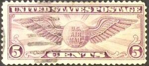 1930 5c Winged Globe Airmail Single, Scott #C12, Used, Fine