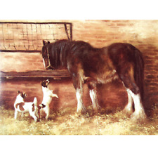 """Sally Mitchell Card - """"Lunchtime"""" Jack Russell & Horse Print By Mick Cawston"""