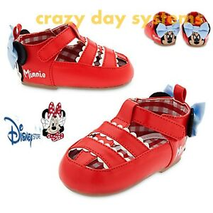 Disney Store Minnie Mouse Faux Leather Sandals Shoes Sz 4, 5, 7 Baby Girl 6-24Mo