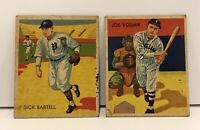 Lot of 2 Baseball Cards 1934 Diamond Stars Dick Bartell #15 Joe Vosmik #8 Chicle