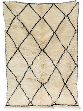 Vintage RUG  authentic Beni Ourain knotted carpet 100% Handmade 8.1ft x 5.8 ft