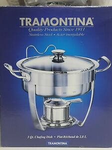 TRAMONTINA 3QT. CHAFING DISH 18/10 STAINLESS STL 2 PANS SEE THRU LID inspected