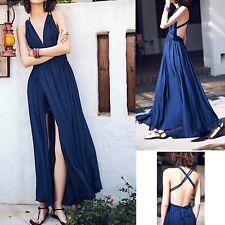 Vestito Lungo Donna con Spacco Schiena Nuda Woman Maxi Large Dress 110365 P