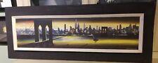 1950's painting new york city cityscape skyline bridge empire state building