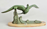 ART Deco 1930's French Metal green patinated Bird on onyx base sculpture