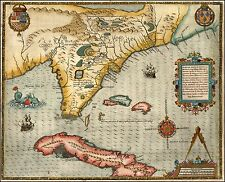1591 very early map Florida Southeastern portion United States 20305