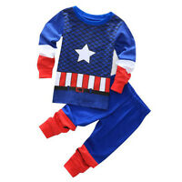 Spiderman Iron Man Kids Pajamas Sleepwear Baby Boys Nightwear 2Pcs Outfits Sets