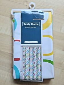 """Colorful Bubbles Circles Shower Curtain 72 x72"""" Grommeted Thin Vinyl Curtain NEW"""