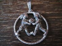 großer Art Deco Markasit Anhänger Sternzeichen Zwilling Horoskop 925er Silber