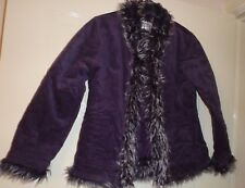 Girls NEXT Coat age 9 to 10 Purple New with no tags Faux Fur Trim