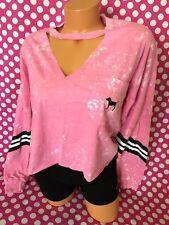 Victoria's Secret Pink Campus Pocket Cropped Cut Out T Shirt S Long Slv Tie Dye