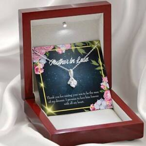 Mother-in-Law Necklace mother in Love Eternity Ribbon Stone Pendant Keepsake Mes
