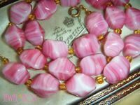 VINTAGE 1950s  ART DECO GORGEOUS PINK AGATE MOULDED GLASS BEADS NECKLACE