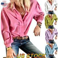 Women Fashion Long Sleeve Casual Shirt Collar Blouse Loose Ladies Tops US 6-14