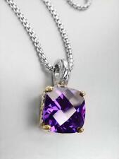 Silver Gold Filigree Pendant Necklace Exquisite Purple Amethyst Crystal Balinese