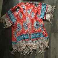 Umgee | Coral Floral Fringed Kimono Womens S/M