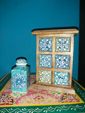 """HAND PAINTED CERAMIC 6-DRAWER STORAGE CHEST FROM INDIA- WITH """"FREE"""" SPICE JAR"""