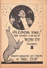 1956 WJW TV AD~ITS CIRCUS TIME~BIG TOP RINGMASTER JACK STERLING~CLEVELAND,OHIO